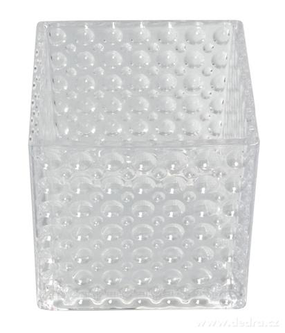 DA93324-Sklenený svietnik s reliéfnym povrchom š 15 x h 15 x v 14,5 cm