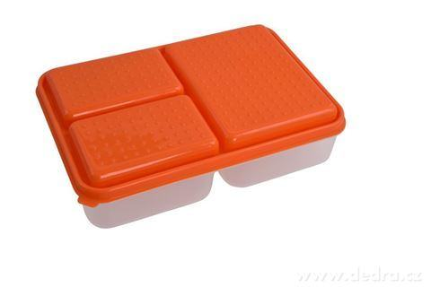 DA94054-TRIOBOX 3in 1  300 + 300 + 700 ml dóza na potraviny, oranžový