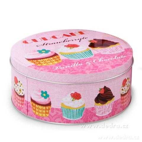 DA82343-Guľatá kovová dóza priemer 20 cm cupcakes