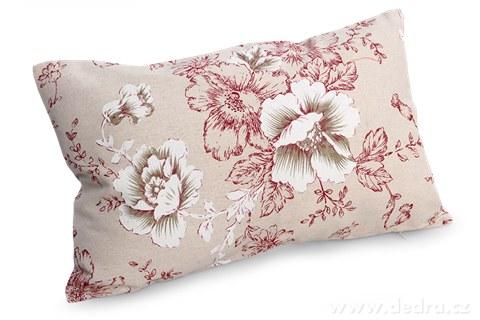 FC92541-Poťah na vankúš červené kvety 50 x 30 cm