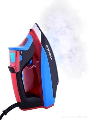 EL94782-Inteligentné naparovacia žehlička s LCD displejom Digitron ANTICALC systémy červeno-modrá