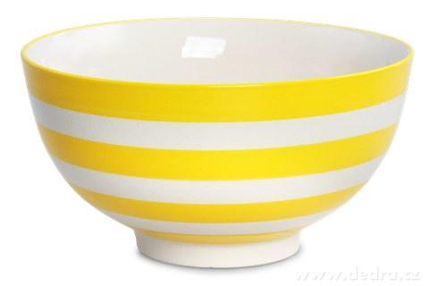 DA93692-Keramická miska 760 ml STRIPES & DOTS žlté pruhy
