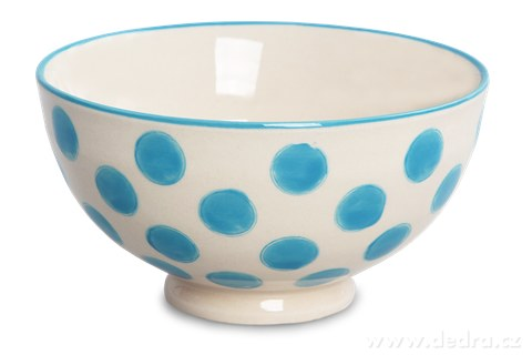 DA93761-Keramická miska 250 ml STRIPES & DOTS modré bodky