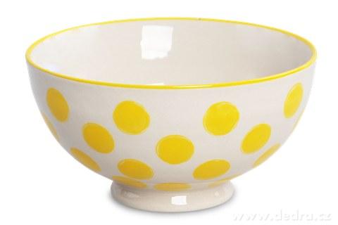 DA93731-Keramická miska 250 ml STRIPES & DOTS žlté bodky
