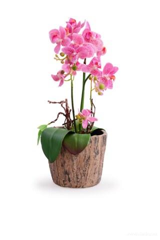 DA97833-Kameninový kvetináč s dekorom kôry