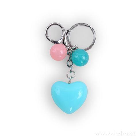 DA98782-Prívesok srdiečko na kabelku či kľúče tyrkysové