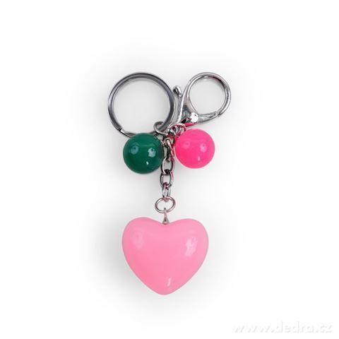 DA98781-Prívesok srdiečko na kabelku či kľúče ružové