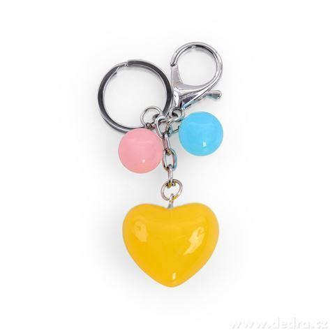 DA98784-Prívesok srdiečko na kabelku či kľúče žlté