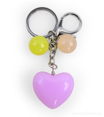 DA98785-Prívesok srdiečko na kabelku či kľúče lila