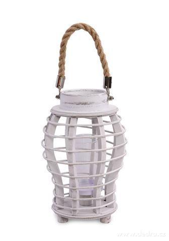 DA97531-Originálny lampáš drevený, biela patina s lanovým držadlom