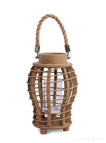 DA97532-Originálny lampáš drevený, prírodné s lanovým držadlom