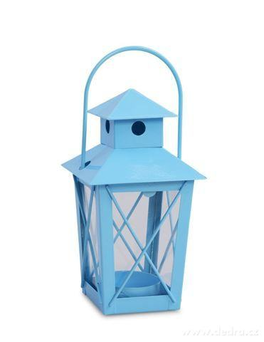 DA97601-Kovová lucernička na čajovú sviečku blankytne modrá
