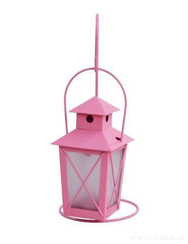DA97612-Závesná lucernička kovová pastelovo ružová