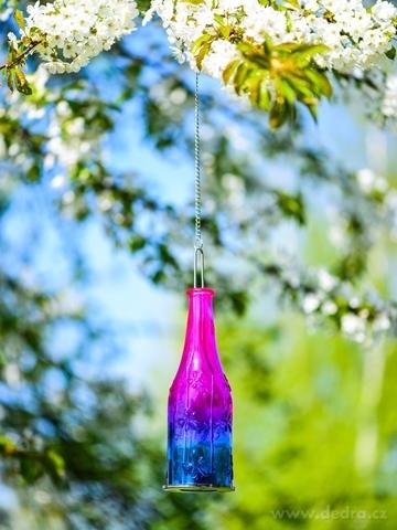 DA98621-Farebná fľaša 27 cm závesný svietnik ružovo-modrý