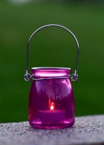 DA98671-Sklenený svietnik na čajovú sviečku fuchsiovej