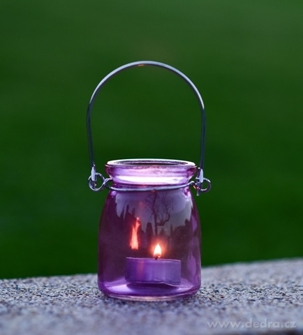 DA98672-Sklenený svietnik na čajovú sviečku lila