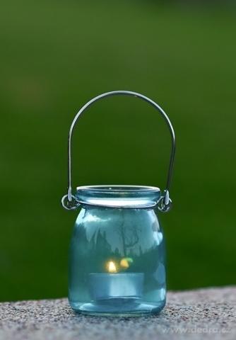 DA98673-Sklenený svietnik na čajovú sviečku tyrkysový
