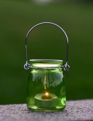 DA98674-Sklenený svietnik na čajovú sviečku zelený