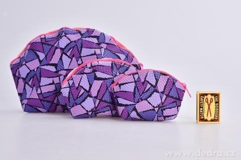 FC95752-3 ks Kozmetická taštička fialová geometric