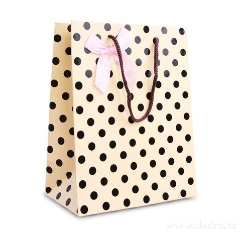DA99781-Darčeková taška krémová s bodkami