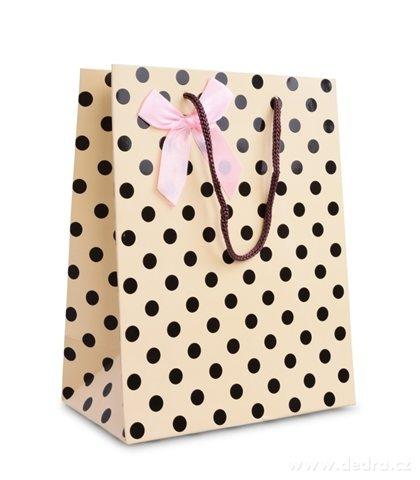 DA99783-Darčeková taška krémová s bodkami