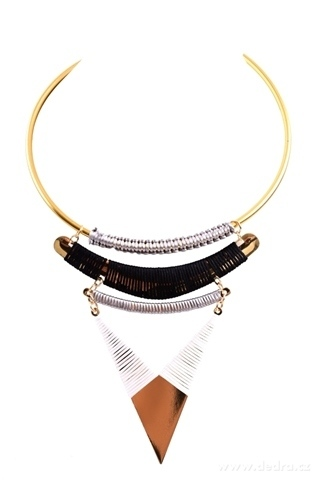 DA10671-Moderné náhrdelník s kovovou aplikáciou