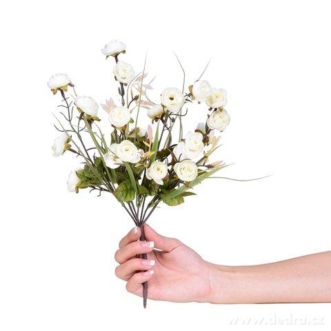 DA98402-Kytice drobných RUŽÍ biela, výška 35 cm ateliérová kvetina