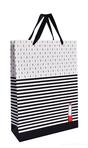 DA99871-Darčeková taška s čiernymi pruhmi a majákom