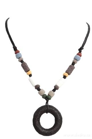 DA95711-NATURAL náhrdelník čierny kruh