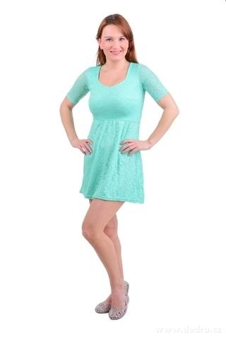 FC11381-LACY krajkové šaty s podšívkou mint / tyrkysové