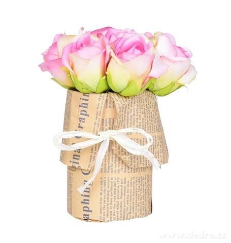 DA98331-Kytice RUŽÍ ružová v kvetináči ateliérová kvetina