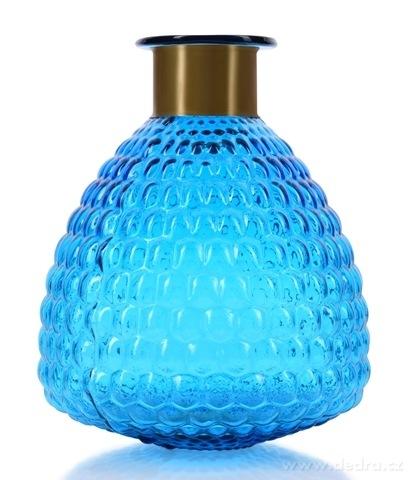 DA17602-Sklenená váza s reliéfnym povrchom a efektným kovovým prstencom