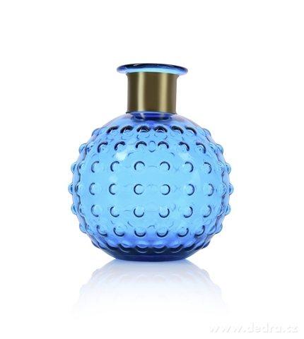 DA17601-Sklenená váza s reliéfnym povrchom a efektným kovovým prstencom