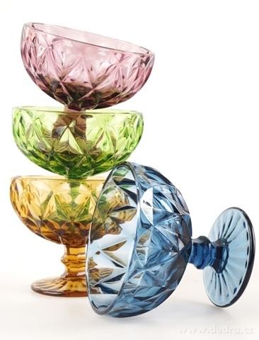 DA17401-4 ks sada širokých pohárov v pestrých farbách s reliéf. povrchom