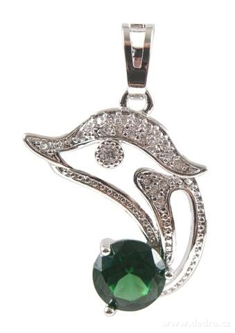 FC17169-Prívesok delfín farba smaragdu rhodiováno