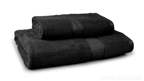 FC17016-BAMBOO veľký uterák s elegantnou bordúrou čierny