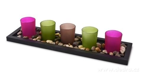 DA17006-5 ks sklenený svietnik na dřevěn.podstavci 44 cm pastelové tóny