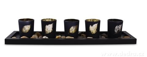 DA17002-5 ks sklenených svietnikov čierne s lístkami 44 cm