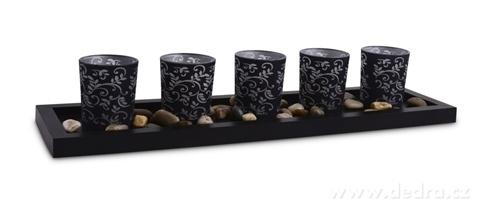 DA17001-5 ks sklenených svietnikov čierne s ornamentami 44 cm