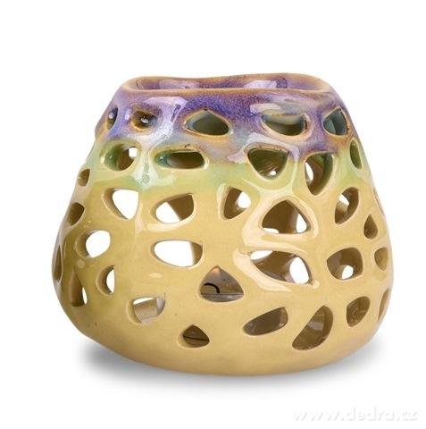 DA16924-Keramická aromalampa na čajovú sviečku prírodné