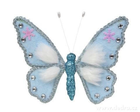 DA16228-16 cm veľký modrý motýľ WHITE & BLUE