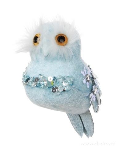 DA16227-Modrá sova WHITE&BLUE 13 cm