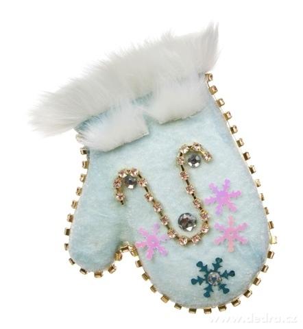 DA16224-14 cm veľká zamatová rukavica závesná dekorácia WHITE & BLUE