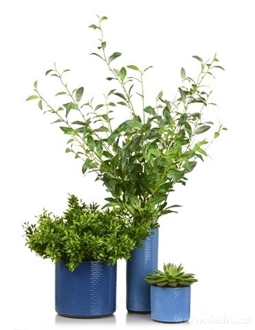 DA13363-Keramická váza alebo obal na kvetináč tmavo modrá