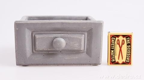 DA97942-Kameninový obal na kvetináč obdĺžnikový, sivý