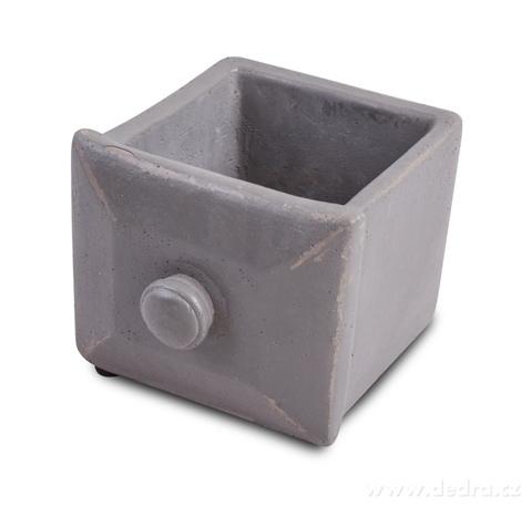 DA97902-Kameninový obal na kvetináč štvorcový, sivý