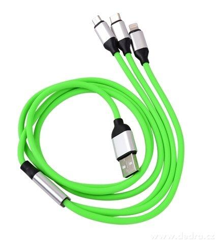 DA19721-3in 1 USB kábel s tromi koncovkami zelený