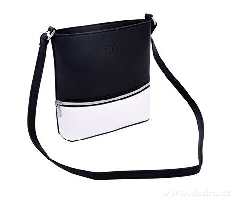 FC20032-INFINITY Crossbody kabelka z ekokože čierno biela