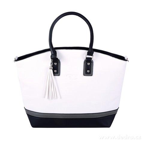 FC20052-TRINITY kabelka z ekokože bielo-šedo-čierna