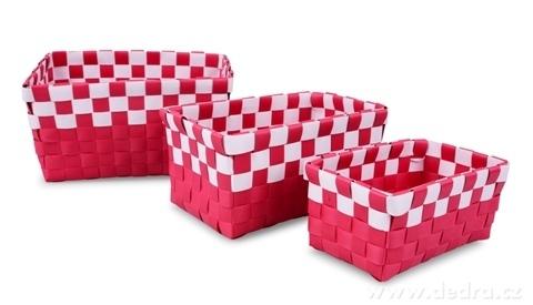 FC20415-Sada 3 košíkov z plastového výpletu malinová